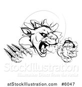 Vector Illustration of a Black and White Panther Clawing Through a Wall by AtStockIllustration