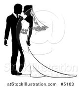 Vector Illustration of a Black and White Passionate Bride and Groom by AtStockIllustration