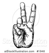 Vector Illustration of a Black and White Peace Hand by AtStockIllustration
