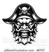 Vector Illustration of a Black and White Pirate Mascot Face with an Eye Patch and Captain Hat by AtStockIllustration