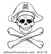 Vector Illustration of a Black and White Pirate Skull and Crossbones Jolly Roger by AtStockIllustration