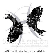 Vector Illustration of a Black and White Pisces Zodiac Astrology Fish and Symbol by AtStockIllustration