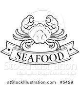 Vector Illustration of a Black and White Pork Seafood Banner and Crab by AtStockIllustration