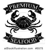 Vector Illustration of a Black and White Premium Seafood Food Banners and Crab by AtStockIllustration