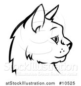 Vector Illustration of a Black and White Profiled Cat Face by AtStockIllustration