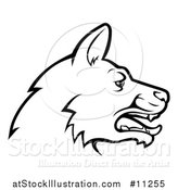 Vector Illustration of a Black and White Profiled German Shepherd Dog Face by AtStockIllustration
