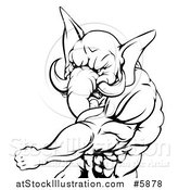 Vector Illustration of a Black and White Punching Muscular Elephant Man Mascot by AtStockIllustration