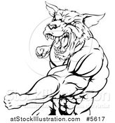 Vector Illustration of a Black and White Punching Muscular Wolf Man Mascot by AtStockIllustration
