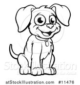 Vector Illustration of a Black and White Puppy Dog by AtStockIllustration