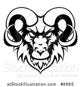 Vector Illustration of a Black and White Ram Head Mascot by AtStockIllustration