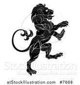 Vector Illustration of a Black and White Rampant Lion by AtStockIllustration