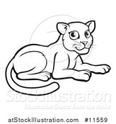 Vector Illustration of a Black and White Resting Leopard by AtStockIllustration