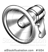 Vector Illustration of a Black and White Retro Megaphone by AtStockIllustration
