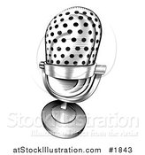 Vector Illustration of a Black and White Retro Microphone by AtStockIllustration