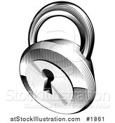 Vector Illustration of a Black and White Retro Padlock by AtStockIllustration
