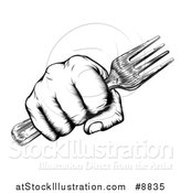 Vector Illustration of a Black and White Retro Woodcut Fisted Hand Holding a Fork by AtStockIllustration