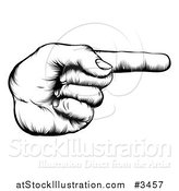 Vector Illustration of a Black and White Retro Woodcut Hand Pointing a Finger by AtStockIllustration