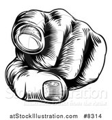 Vector Illustration of a Black and White Retro Woodcut Hand Pointing Outwards by AtStockIllustration