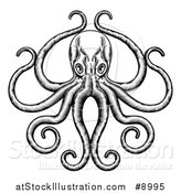 Vector Illustration of a Black and White Retro Woodcut Octopus with Its Tentacles in an Ornate Pose by AtStockIllustration
