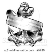 Vector Illustration of a Black and White Retro Woodcut or Engraved Anchor and Ribbon Banner by AtStockIllustration