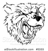Vector Illustration of a Black and White Roaring Aggressive Bear Mascot Head by AtStockIllustration