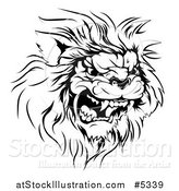 Vector Illustration of a Black and White Roaring Aggressive Lion Mascot Head by AtStockIllustration