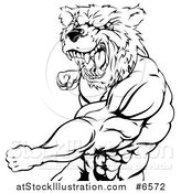 Vector Illustration of a Black and White Roaring Angry Muscular Bear Man Punching by AtStockIllustration