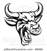 Vector Illustration of a Black and White Roaring Bull Mascot Head with a Nose Ring by AtStockIllustration