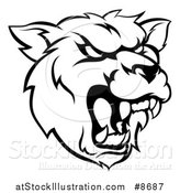 Vector Illustration of a Black and White Roaring Grizzly Bear Mascot Head by AtStockIllustration