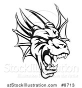 Vector Illustration of a Black and White Roaring Horned Dragon Mascot Head by AtStockIllustration