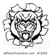 Vector Illustration of a Black and White Roaring Panther Mascot Breaking Through a Wall by AtStockIllustration