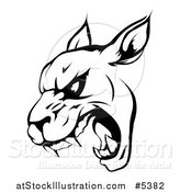 Vector Illustration of a Black and White Roaring Panther Mascot Head by AtStockIllustration