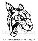 Vector Illustration of a Black and White Roaring Tiger Mascot Head by AtStockIllustration