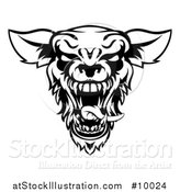 Vector Illustration of a Black and White Roaring Werewolf Head by AtStockIllustration