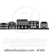 Vector Illustration of a Black and White Row of Edwardian, Victorian and Georgian House and Building Facades by AtStockIllustration