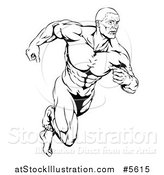 Vector Illustration of a Black and White Running Muscular Man by AtStockIllustration