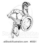 Vector Illustration of a Black and White Running Trojan Gladiator with a Shield and Sword by AtStockIllustration