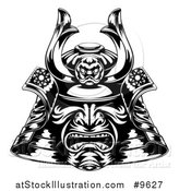 Vector Illustration of a Black and White Samurai Mask by AtStockIllustration