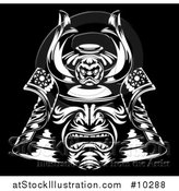 Vector Illustration of a Black and White Samurai Mask on Black by AtStockIllustration