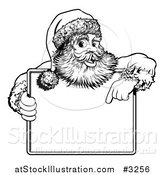 Vector Illustration of a Black and White Santa Behind Holding and Pointing to a Sign by AtStockIllustration