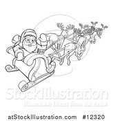 Vector Illustration of a Black and White Scene of Reindeer Flying Santa in a Sleigh by AtStockIllustration
