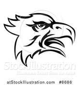 Vector Illustration of a Black and White Screeching Bald Eagle Mascot Head by AtStockIllustration