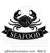 Vector Illustration of a Black and White Seafood Banner and Crab by AtStockIllustration