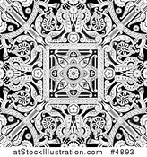 Vector Illustration of a Black and White Seamless Intricate Middle Eastern Motif Background Pattern by AtStockIllustration