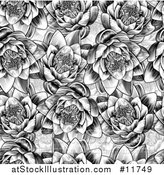 Vector Illustration of a Black and White Seamless Woodcut Styled Water Lily Lotus Flower Background by AtStockIllustration