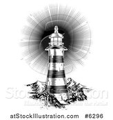 Vector Illustration of a Black and White Shining Engraved Lighthouse by AtStockIllustration