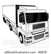 Vector Illustration of a Black and White Shipping Big Rig Truck by AtStockIllustration