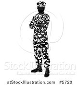 Vector Illustration of a Black and White Silhouetted Army Soldier Standing with Folded Arms by AtStockIllustration