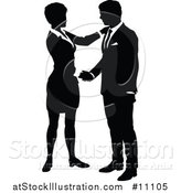 Vector Illustration of a Black and White Silhouetted Business Man and Woman Shaking Hands by AtStockIllustration