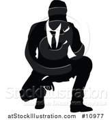 Vector Illustration of a Black and White Silhouetted Business Man Crouching by AtStockIllustration